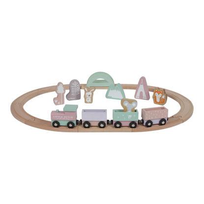 Holz-Eisenbahn mit Schienen - adventure pink