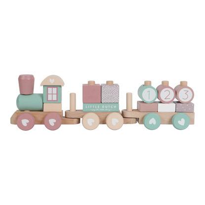Holz-Eisenbahn mit Steck-Formen - adventure pink