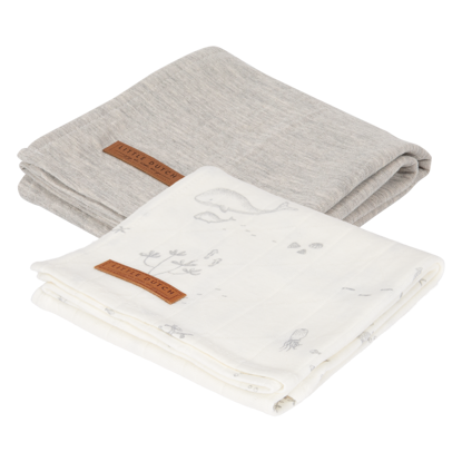Swaddle Tuch 70 x 70 - Ocean White / Pure Grey