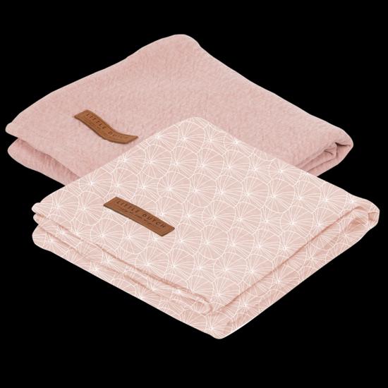 Bild von Swaddle Tuch 70 x 70 - Lily Leaves Pink / Pure Pink